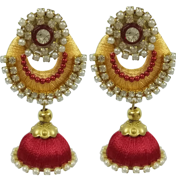 6b1ac373c Yellow Red Pendant silk thread Jhumkas   Ammy Fashions   Ammy Fashions