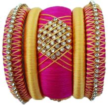 PINK.AND.GOLD.COLOR.SET.OF.SILK.THREAD.BANGLES