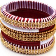 WHITE AND MAROON COLOR WRAPPED BANGLES