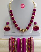 PURPLE.COLOR.SILK.THREAD.NECKLACE.SET.000